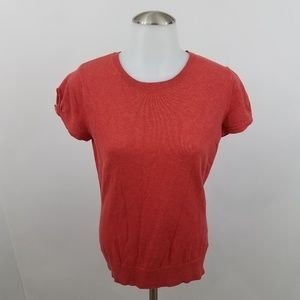 Kersh Top M Sweater Knit Top Orange Red Short Slee